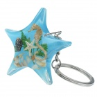 Starfish Style Hippocampus Shell Acrylic Stainless Steel Keychain - White + Blue + Multi-color