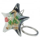 Starfish Style Hippocampus Shell Acrylic Stainless Steel Keychain - Black + White + Multi-color