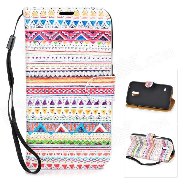 Stylish Retro Tribal Pattern Flip-open PU Case w/ Holder + Card Slot for Samsung S5 - Multicolored