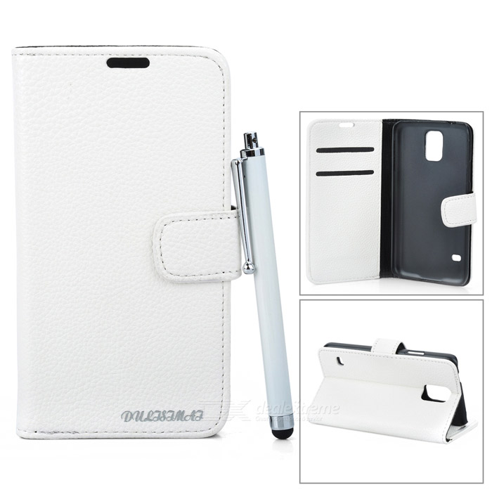 Protective Flip Open PU Case w/ Stand / Card Slots for Samsung Galaxy S5 - White protective flip open pu case w stand card slots strap for samsung galaxy note 3 n9000 white