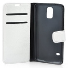 Protective Flip Open PU Case w/ Stand / Card Slots for Samsung Galaxy S5 - White