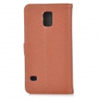 IKKI Classic Flip-open Split Leather Case w/ Holder + Card Slot for Samsung Galaxy S5 - Brown