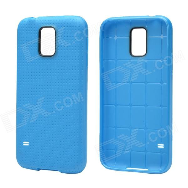 Plaid Pattern Protective TPU Back Case for Samsung Galaxy S5 - Sky Blue