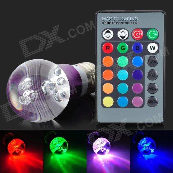 E27 3W 4200K 1-LED RGB Light Bulb w/ Remote Controller - White + Purple + Multi-Colored (AC 85~265V) jr led e27 10w 500lm led rgb light bulb w remote control white silver ac 85 265v