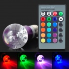 E27 3W 4200K 1-LED RGB Light Bulb w/ Remote Controller - White + Purple + Multi-Colored (AC 85~265V)