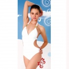 3053 Women's Sexy Hot Spring Dacron One-piece Swimsuit - White (L)
