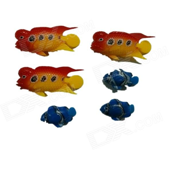 E4YK Aquarium Tank Simulation Swimming Fish - Red + Yellow + Blue (6 PCS)