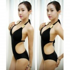 3053 Women's Sexy Hot Spring Dacron One-piece Swimsuit - Black (L)