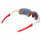 NUCKILY PA01 Outdoor UV400 Protection PC Lens TR90 Frame Sunglasses w/ Replacing Lens - White + Red