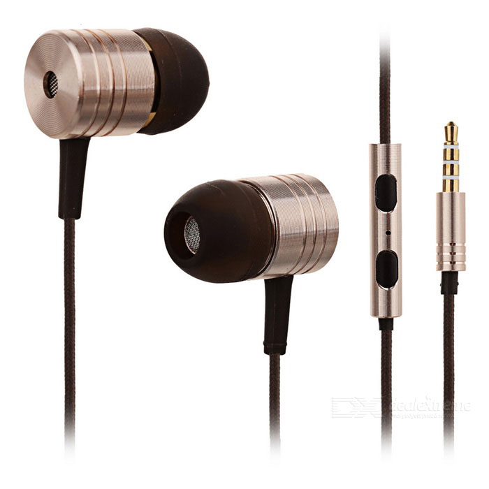 3.5mm In-ear Earphone w/ Microphone for Xiaomi M2S / 3 / 2A / 1S - Black + Earthy (110cm)