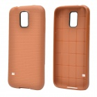 Plaid Pattern Protective TPU Back Case for Samsung Galaxy S5 - Brown