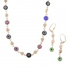 HH008 Fashion Small Dot & Heart-Shape Crystal Zinc Alloy Necklace + Earrings Set