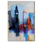 Iarts DX0415-03 The Clock Tower City Oil Painting - Multicolored