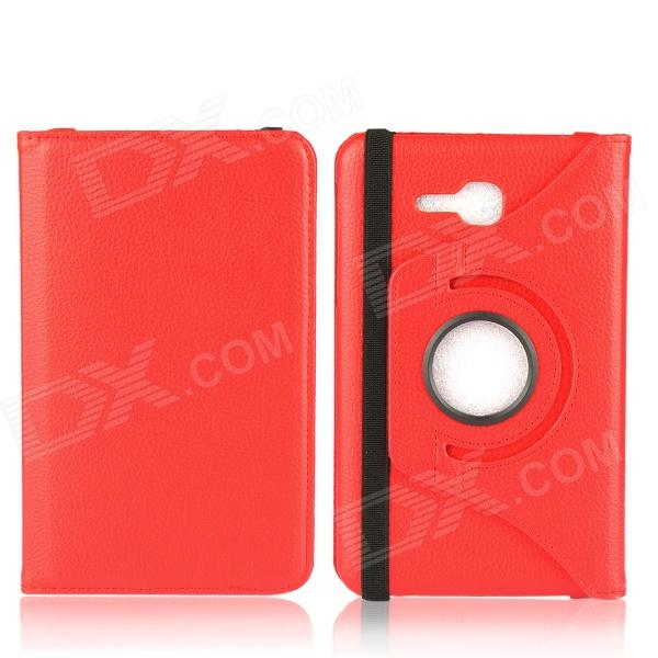 Фото 360 Degree Rotation Protective PU Leather Case Cover Stand for Samsung Galaxy Tab 3 Lite T110 - Red 100pcs lot 360 degree rotating litchi folio stand pu leather skin case cover for samsung galaxy tab s3 9 7t825 t820 fundas case
