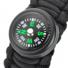 Bracelet Style Outdoor Survival Emergency Umbrella Rope w/ Compass - Black