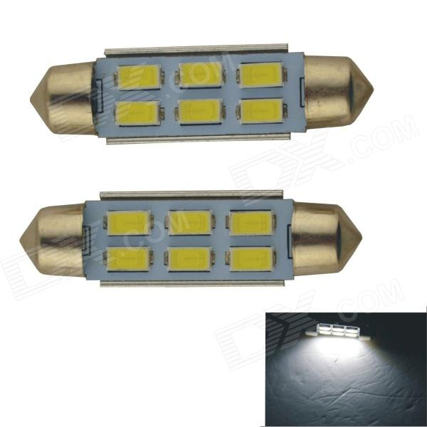 Festoon 41mm 3W 300lm 6 x SMD 5630 LED White Car Reading Light / Roof Lamp - (2 PCS / 12V) cyan soil bay amber 48 led car truck roof top emergency hazard warning strobe flash light lamp