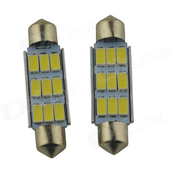 Festoon 41mm 4.5W 450lm 9 x SMD 5630 LED White Car Reading Light / Roof Lamp - (2 PCS / 12V) cyan soil bay amber 48 led car truck roof top emergency hazard warning strobe flash light lamp