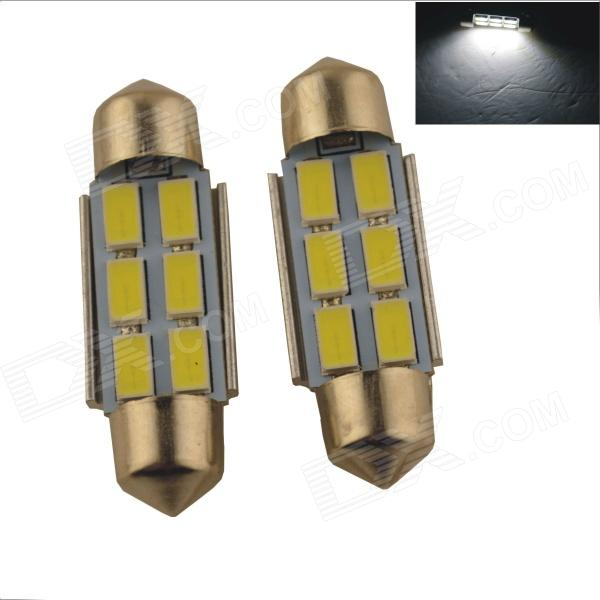 Festoon 36mm 3W 300lm 6 x SMD 5630 LED White Car Reading Light / Roof Lamp - (2 PCS / 12V) festoon 31mm 3w 300lm 6 smd 5630 led white light car reading license plate lamp 12v 2 pcs