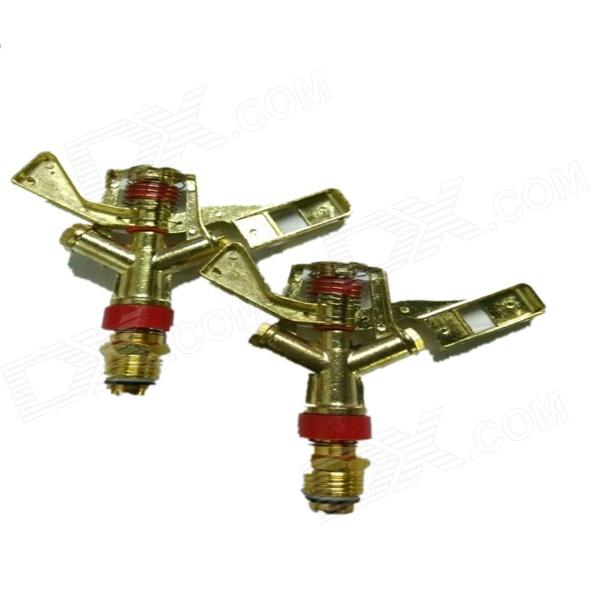 E8HLY 8506 Zinc Alloy Lawn Sprinkler - Golden + Red (2 PCS)