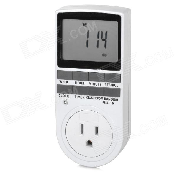 TaiShen TS-839 US 3-pin Plug 15A 1800W Digital 2.3 LCD Programmable Switch Timer - White (120V)