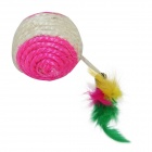 EasyCat Natural sisal Feather Ball Shape Knit Pet Cat Toy - Valkoinen + Punainen