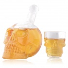 Crystal Skull Shot Bottle + Crystal Skull Head Vodka Wine Glass - Transparent