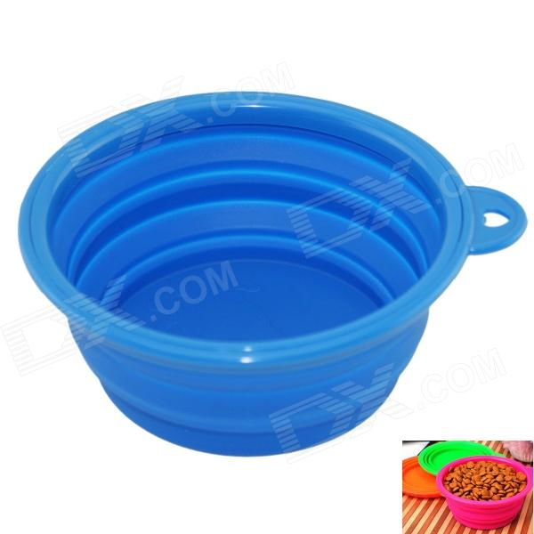 EasyCat Portable New Silicone Pet Dog Cat food Water Foldable Bowl - Blue