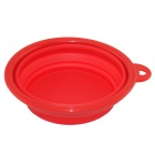 EasyCat Portable New Silicone Pet Dog Cat Food Water Foldable bowl - Red