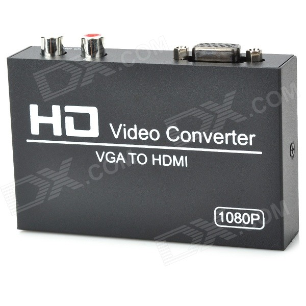 VGAHD101 VGA to 1080P HDMI Video Converter w/ 3.5mm Jack - Black vga to hdmi 1080p 720p video audio converter w scaler black silver