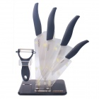 "RIMON DJSW3567 Western-style 3"" / 5"" / 6"" / 7"" Kitchen Knife + Peeler + Rest Set - Black"