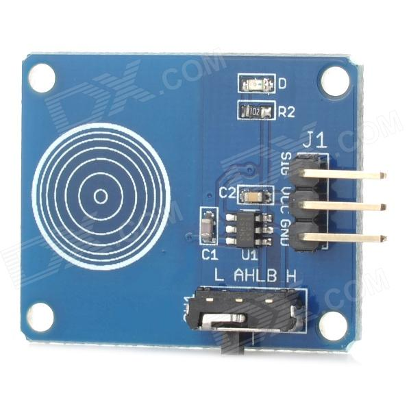 Digital Capacitive Touch Sensor Switch Module for Arduino (Toggle Mode) - Blue + BlackSensors<br>Form ColorBlue+BlackBrandN/AModelN/AQuantity1 DX.PCM.Model.AttributeModel.UnitMaterialPCBChipsetTTP223BEnglish Manual / SpecYesDownload Link   http://pan.baidu.com/share/link?shareid=1154756855&amp;uk=1966479381Other FeaturesLatch type : the initial state can be set high or low, touch will change the level of the state ( like self-locking switch function); A product for arduino that works with official Arduino boards.<br><br>       Low power consumption<br><br>       Power supply for 2 ~ 5.5V<br><br>       Positive and negative can be used as a touch surface , DC can be an alternative to traditional self-locking switch<br><br>       4 M2 screws positioning holes for easy installationPacking List1 x Touch sensor module<br>