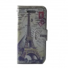Eiffel Tower Pattern Protective PU Leather Case Cover for IPHONE 5 / 5S - Multicolored