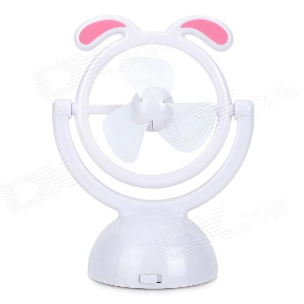 MH1801 1.5V 1W USB Powered 3-Blade Fan - White + Pink