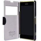 NILLKIN Protective PU Leather + PC Case Cover for Sony Xperia Z1 Compact M51W - Black
