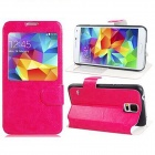 Protective PU Leather Case Cover Stand w/ Visual Window for Samsung Galaxy S5 - Deep Pink