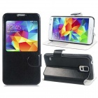 Protective PU Leather Case Cover Stand w/ Visual Window for Samsung Galaxy S5 - Black + White