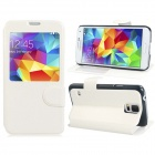 Protective PU Leather Case Cover Stand w/ Visual Window for Samsung Galaxy S5 - White