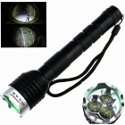 Buy ZHISHUNJIA Z30 3-LED 2400lm 5-Mode White Flashlight - Black + Silver (2 x 18650)