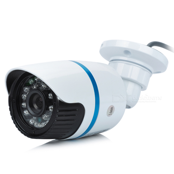 24-light Waterproof CMOS Surveillance Camera w/ IR CUT - White + Blue