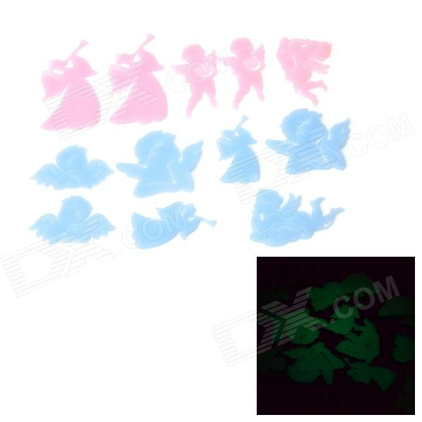 WB-03131 DIY Glow-in-the-Dark Educational 12 Angel Shaped 3D Wall Stickers - Blue + Pink (12 PCS)