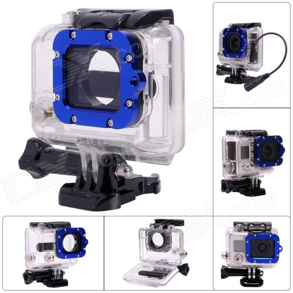Side Open Protective Case w/ Individual Aluminum Alloy Lens Strap Ring for GoPro Hero 3+ / 3 - Blue