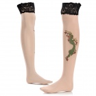 Nylon Spandex Tattoo Style Stockings - Light Yellow + Green