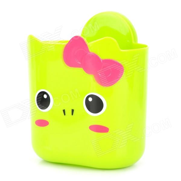 Cute Cartoon Frog Style PP Storage Bucket Box w/ Suction Cup - Green