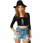 WS-2652 Women's Sexy Backless Long-sleeved Short Blouse - Black (M)