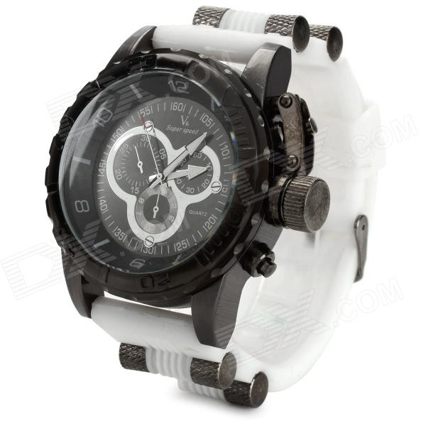 V6 v0205 Men's Sports Analog Quartz Wrist Watch w/ Silicone Band - Black + White (1 x 626)