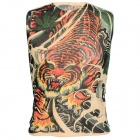 Fashionable Tattoo Pattern Nylon + Spandex Sleeveless T-shirt - Red + Blackish Green