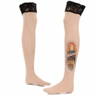 Nylon + Spandex Tattoo Pattern Stockings - Black + Beige + Multi-Colored (Pair)