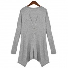 WS-2471 Women's Stylish Cotton Long-sleeved Long Blouse - Grey