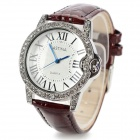 ASTINA 0476 Women's Stylish Analog Quartz Wristwatch w/ PU Band - White + Coffee (1 x 626)
