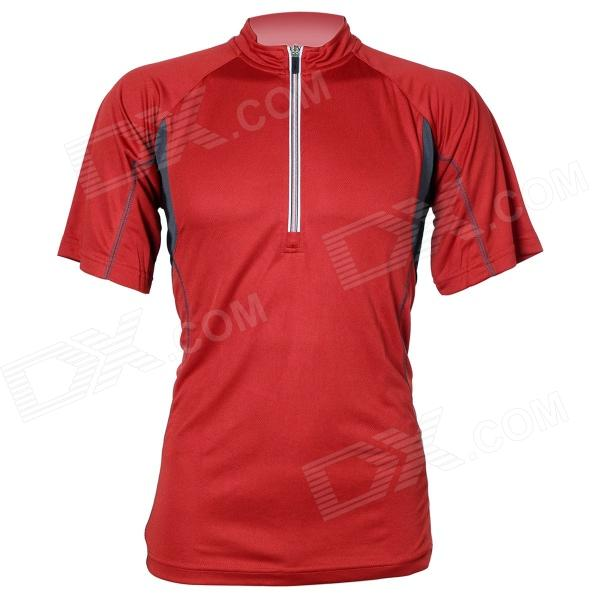 AUTULA-071 Cycling Nopeasti kuivuva polyesteri Short Jersey for Men - Claret Red (L)